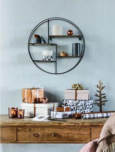 etagere murale ronde metal noir bois mdf versa 20850021 en