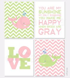 You Are My Sunshine Girl Nursery PRINT SET Four Prints - Animals Whale Chevron Quote Wall Art - Pastel Pink Lime Green White - 8x10 inch
