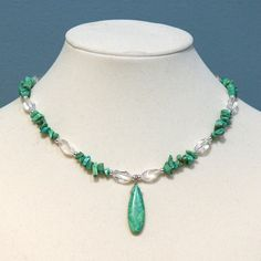 Turquoise Teardrop  Gemstone Chip Necklace- If I find similar clear beads and that center bead, I could whip these out in no time.