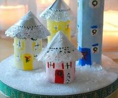 Christmas village from toilet paper tubes