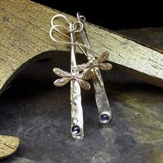 Dragonfly Earrings Hammered Sterling Silver by LavenderCottage, $49.50