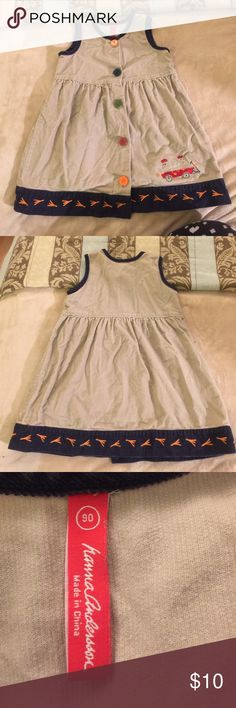 Adorable Corduroy Dress Jumper dress with cute chicken embroidery and multi colored buttons. Great shape. Hanna Andersson Dresses Casual