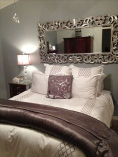 Bed without headboard ideas decoration home decor bedroom nice use of the mirror to take away from no headboard bed headboard diy ideas Room Decor For Teen Girls, Silver Bedroom, Gray Bedroom, Trendy Bedroom, Modern Bedroom, Headboards For Beds, Headboard Ideas, Mirror Headboard, Bed With No Headboard
