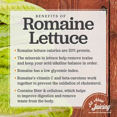 Benefits of Romaine Lettuce  https://www.facebook.com/AllAboutJuicing/photos/a.115863061803986.9397.113478618709097/877478732309078/?type=1