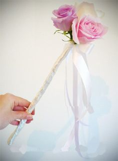 Bridesmaid Wands. Coral ribbon with one or two roses