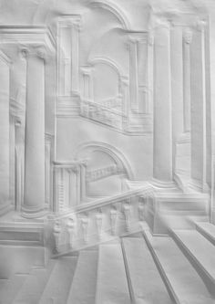 Paper art of  Simon Schubert - A German artist that folds paper with straight edge and burnisher to conceive these paper pieces. Subtle, quiet and delicate