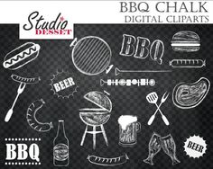 Barbeque Cliparts Chalkboard Grill Digital Clip by StudioDesset, $4.40