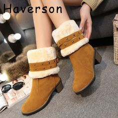 (26.21$)  Know more - http://aiwg8.worlditems.win/all/product.php?id=32741675536 - Winter Pink Ankle Boots Womens Rivets Snow Boots High Heels Band Strap Warm Winter Boot Plush Shoes Ladys Chunky Heels Botas