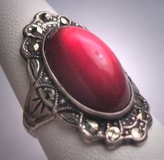 Antique Art Deco Ruby Rose Cut Wedding Ring Vintage Engagement