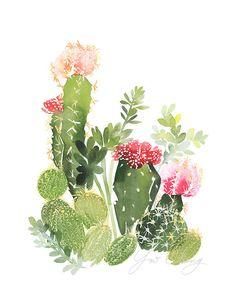Cactus No. 4 Watercolor Art Print by YaoChengDesign on Etsy