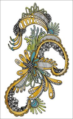 Seasoned Zentanglers know there is difference between tangling and doodling. When I was drawing this, I felt it was more of a doodle than a tangle - perhaps because I wasn't using traditional Zentangle patterns. Yet, I was using repetitive patterns to create a piece of art. And I was...