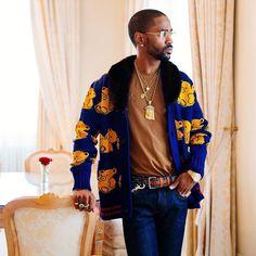 Big Sean Styles in Gucci Cardigan, Goyard Belt and Cartier Glasses Urban Fashion Women, Big Men Fashion, Hip Hop Fashion, Fashion News, Big Sean, Man Dressing Style, African American Men, Urban Street Style, Gentleman Style