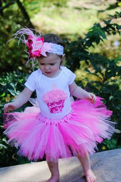 PRECIOUS PINK cupcake 1st Birthday tutu outfit by KateGraceRose