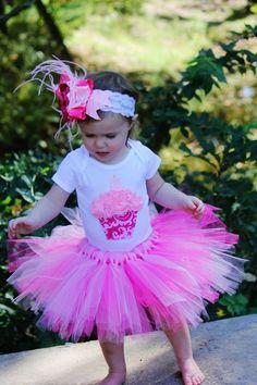 PRECIOUS PINK cupcake 1st Birthday tutu outfit by KateGraceRose