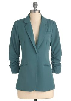 Career Path Blazer in Dusty Blue - Mid-length, Work, Menswear Inspired, Blue, Solid, Buttons, Pockets, 3/4 Sleeve, 1.5