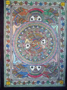 Madhubani Art, Indian Folk Art, Madhubani Painting, Indian Paintings, Fish Art, Tapestry Weaving, Tribal Art, Mandala Design, Design Art