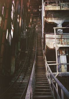 night architecture photography Abandoned Mill of some sort Old Buildings, Abandoned Buildings, Abandoned Places, Baumgarten, Abandoned Amusement Parks, Stairway To Heaven, Parcs, Abandoned Mansions, Architecture