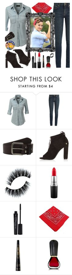 """Last Minute Halloween Costume - Rosie The Riveter"" by deborah-calton ❤ liked on Polyvore featuring LE3NO, Yves Saint Laurent, Bed