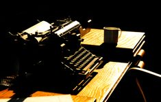 Photo about Vintage journalists office and typewriter abstract. Image of golden, newsroom, vintage - 18347277