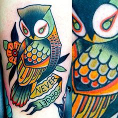 Memorial owl tattoo. Pretty! I would love to have this in remembrance of my mom.....She loved owls!