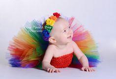 Classic Rainbow Felt Flower Birthday Headband - Birthday, Photo Prop - Newborn Infant Baby Hairbow - Child Girls Hair Bow