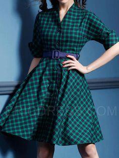 Ericdress Half Sleeve Vintage Plaid Casual Dress Casual Dresses