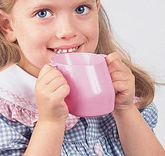 Doidy-Children's Nosey Cup: leaning shape and handles. Weaning Guide, Childrens Cup, Adaptive Equipment, How To Make Drinks, Bottle Feeding, Special Needs, Beautiful Children, Cups, Beverage