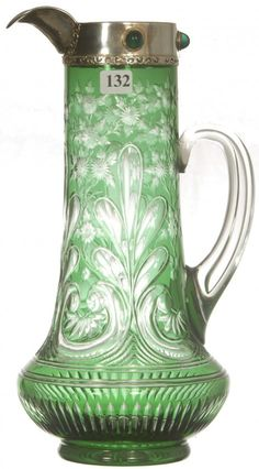 12 Emerald Green Cut To Clear Pitcher