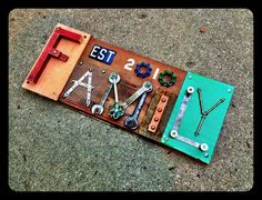 """Hand Made Custom VINTAGE """"family"""" wall hanging, numbers, numerals - Mixed media - Found Object Sculpture - on Etsy, $80.00"""