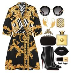 """""""Wrapped in a Versace"""" by pulseofthematter ❤ liked on Polyvore featuring Versace, Gucci, Christian Louboutin, Alexander McQueen, Noor Fares, Carole Shashona, Lime Crime, Yves Saint Laurent and Battington"""