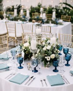 Pantone Color of the Year For Classic Blue Wedding ★ classic blue wedding round table with bohemian glasses and white flowers brittneyraine # blue Weddings Pantone Color of the Year For Classic Blue Wedding Blue Wedding Centerpieces, Blue Wedding Decorations, Blue Wedding Receptions, Blue Wedding Themes, Water Theme Wedding, Blue Wedding Colors, Flower Table Decorations, Popular Wedding Colors, Tall Centerpiece