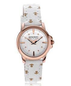 Sperry White & Rose Goldtone Halyard Canvas-Strap Watch