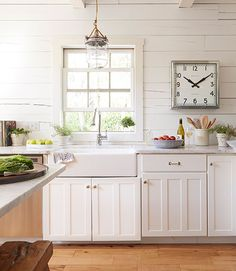 Lake House kitchen, cottage kitchen, marble counters, wood floors...