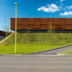 This gas compressor station in southern Denmark by CF Møller Architects comprises Corten steel-clad boxes atop a pair of artificial hills. Parque Industrial, Industrial Park, Industrial Interiors, Industrial House, Building Facade, Building Design, Facade Design, Exterior Design, Garage Guest House