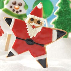 Santa Star Cookies Recipe -Cookie baking can't get any more fun than when you are making—and decorating—these adorable Santa cookies.Taste of Home Test Kitchen Christmas Sweets, Christmas Goodies, Christmas Baking, Christmas Holidays, Christmas Recipes, Merry Christmas, Holiday Meals, Xmas Food, Christmas Cakes