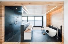 I wish…  2015 bath, free standing tub, large shower, natural wood, great lighting, open. Contemporary Bathroom by Badeloft