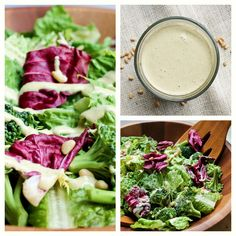 Learn how to make homemade Vegan Caesar Dressing and salad at home! Oil-free and dairy-free. This Caesar dressing is made with ONLY 6 main ingredients (+salt/pepper/water) and with buttery pine nuts, is oil-free & is so creamy and a crowd-pleaser. Vegan Sauces, Raw Vegan Recipes, Vegan Vegetarian, Vegetarian Recipes, Healthy Recipes, Vegan Raw, Vegan Foods, Vegan Life, Vegetarian Turkey