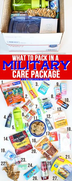 Over 30 ideas of things to pack in a military care package that will be useful, fun, or entertaining. While our troops are working hard over seas to ensure our freedoms and receiving a care packag… package ideas military Deployment Gifts, Deployment Care Packages, Military Deployment, Military Mom, Soldier Care Packages, Soldier Care Package Ideas, Military Care Packages, Care Packages For Troops, Navy Care Packages