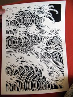 Japanese waves ❤ ❤ need to practice these Japanese Wave Tattoos, Japanese Tattoo Designs, Bild Tattoos, Neue Tattoos, Japanese Prints, Japanese Art, Oni Maske, Et Tattoo, Arte Tribal
