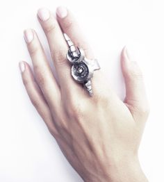 Double crescent moon ring oxidized