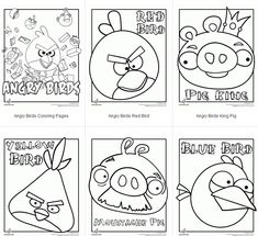 angry birds coloring pages, plus an Angry Birds font, free party kit and craft kits, and lots of Angry Birds party ideas!