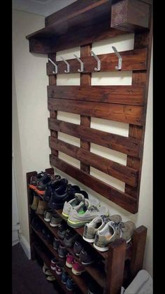 Love the shoe rack! I would keep them beside the garage door to minimize dirt coming in the house.
