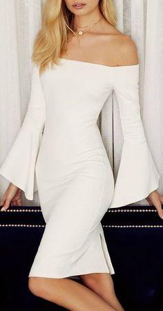 Simple white dress, I love the design Elegant Dresses, Cute Dresses, Casual Dresses, Beautiful White Dresses, Dress Outfits, Fashion Dresses, Dress Up, Simple White Dress, Frack