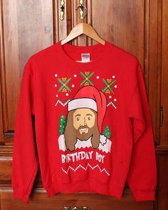 NEW Birthday Boy Jesus Bright Red Ugly Christmas Sweatshirt Adult Small *FLAW* #Gildan #SweatshirtCrew #Jesus #BirthdayBoy #Christmas #Sweatshirt #Red #HappyBirthdayJesus #UglyChristmasSweater
