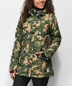 Shred in comfort this winter while staying dry and warm in the Wear Colour Flare Forest Camo Snowboard Jacket. This rated water resistant jacket is paired with breathability and mesh lined pit vents to adhere to a wide range of temperatures fr Flare, Camo Print, Cloths, Military Jacket, Pairs, Fashion Outfits, How To Wear, Jackets, Color