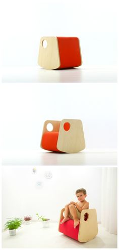 modern wood and red rocker for kids. | Me, wooden rocker petitandsmall.com
