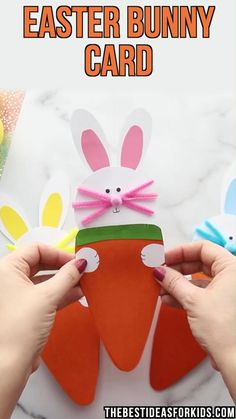 Easter Bunny Card – such a cute Easter card to make! Free printable template included on the post. Easter Bunny Card – such a cute Easter card to make! Free printable template included on the post. Easter Crafts For Toddlers, Easter Arts And Crafts, Easter Projects, Bunny Crafts, Toddler Crafts, Spring Crafts, Holiday Crafts, Art Projects, Diy Easter Decorations