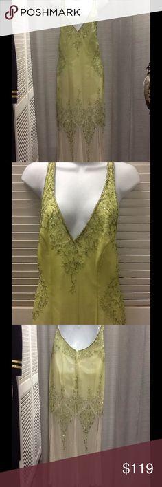MIA BELLA Silk Lime Green Sequins Beads Dress 12 MIA BELLA Silk Lime Green Sequins Beads Dress Sz 12 Mia Bella Dresses Maxi