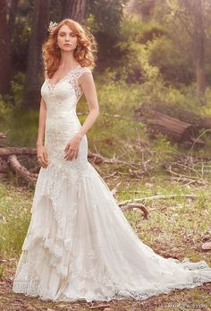 maggie sottero spring 2017 bridal cap sleeves v neck heavily embelliished bodice layered romantic skirt fit and flare wedding dress lace back chapel train (zalia) mv