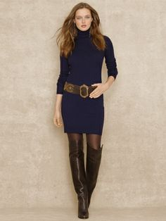 Turtleneck Sweater Dress - Blue Label Sale - RalphLauren.com